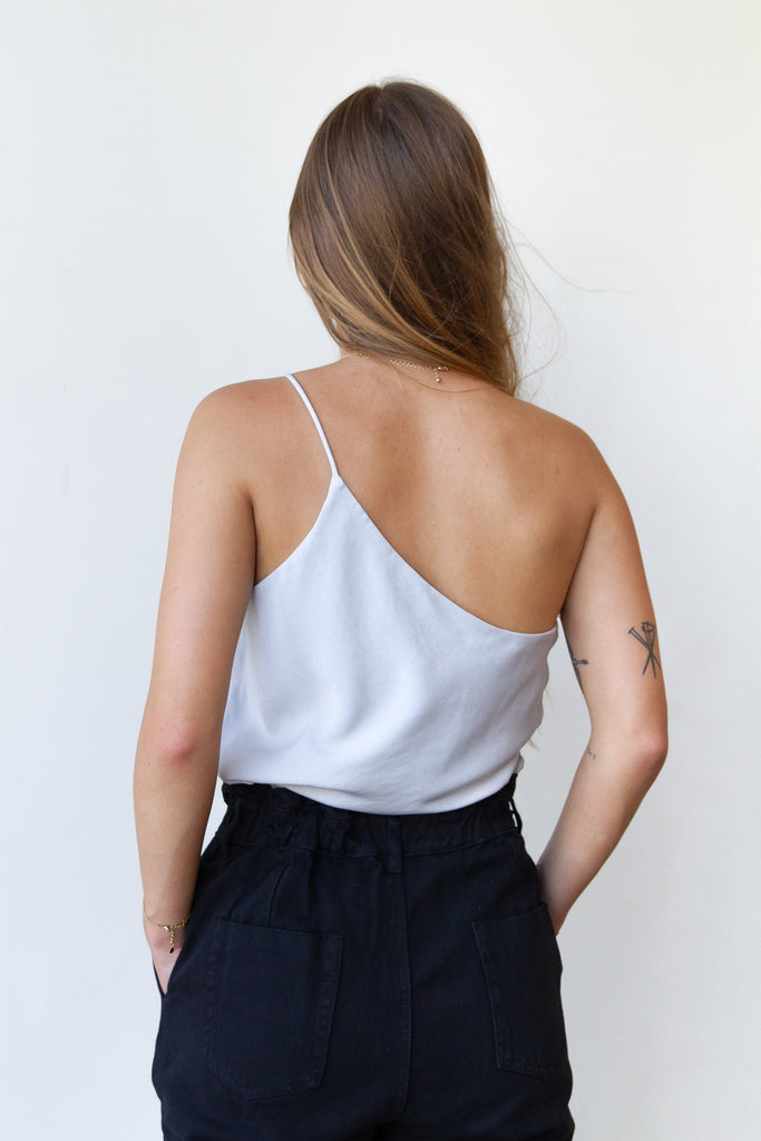 grey one shoulder satin top