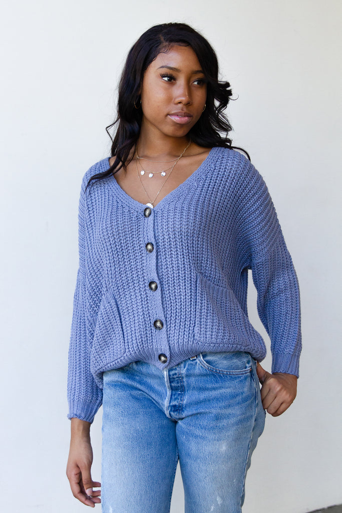 knit blue cardigan