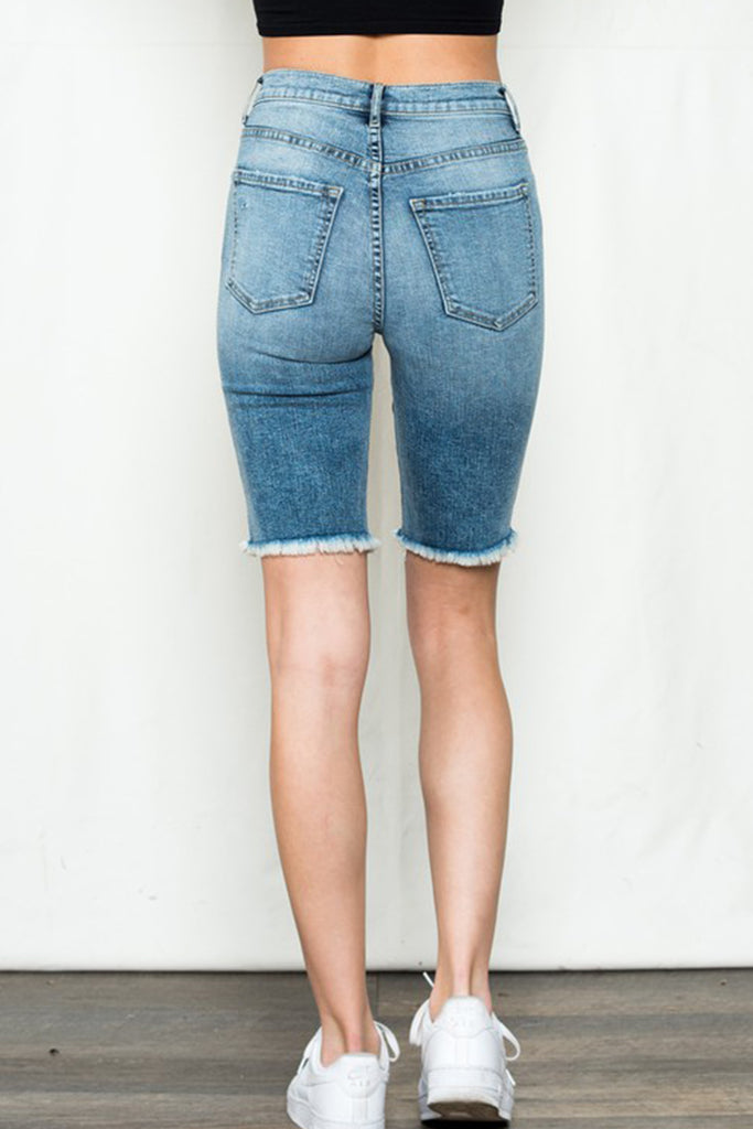 Medium Wash Mid Thigh Denim Shorts