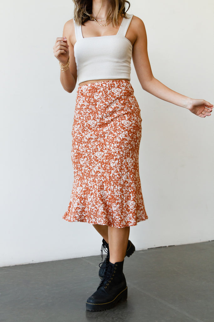 The Takeaway Floral Midi Skirt