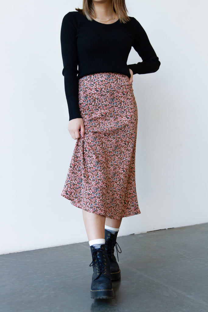 Excuse You Floral Midi Skirt