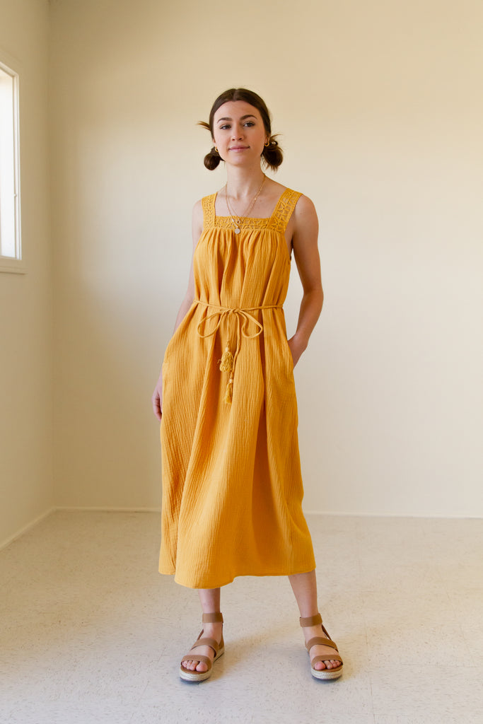mustard mid length sleeveless dress