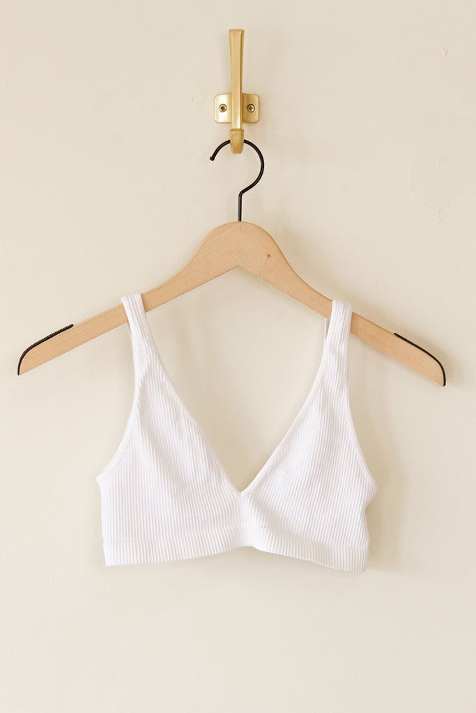 white ribbed sports bra