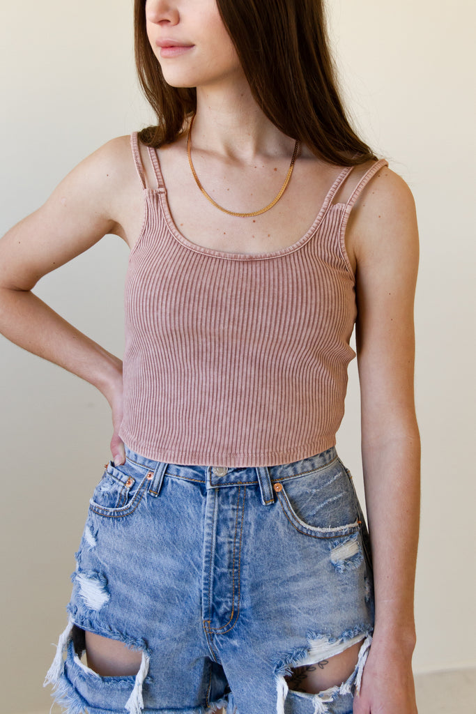 My Heart Ribbed Crop Top