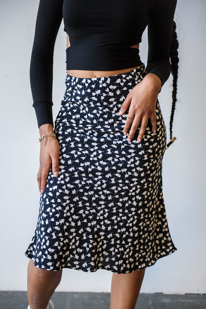 Careless Floral Midi Skirt