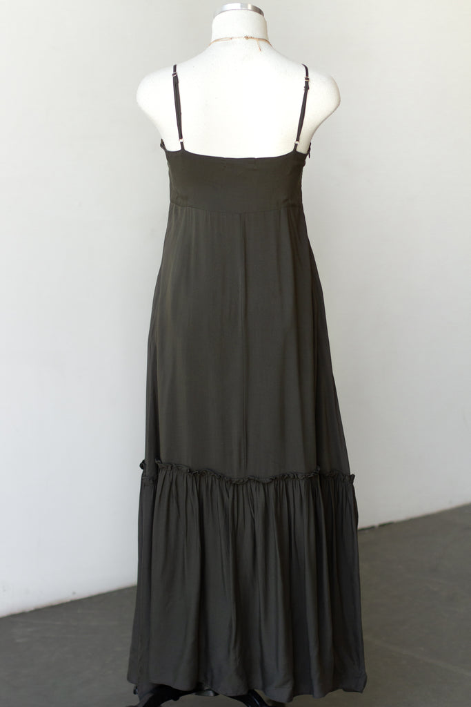 olive colored tiered maxi dress