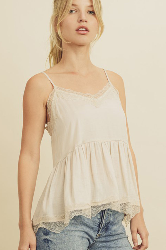 Holding On Lace Trim Cami Top