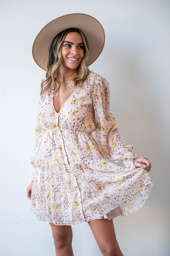 tan and yellow floral dress