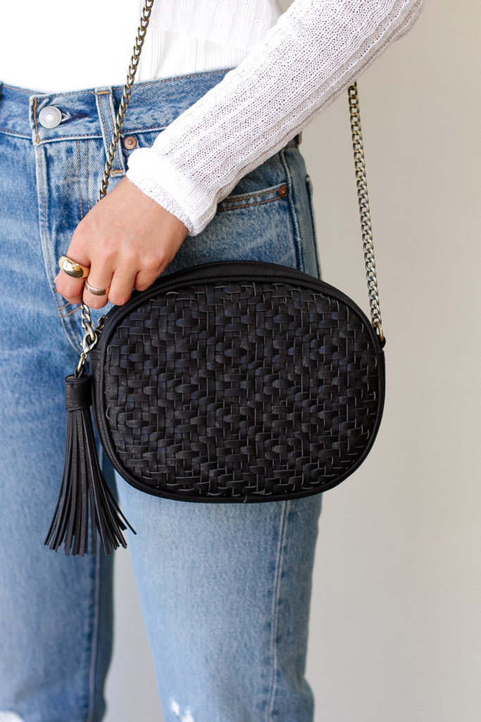 Black Woven Faux Leather Purse
