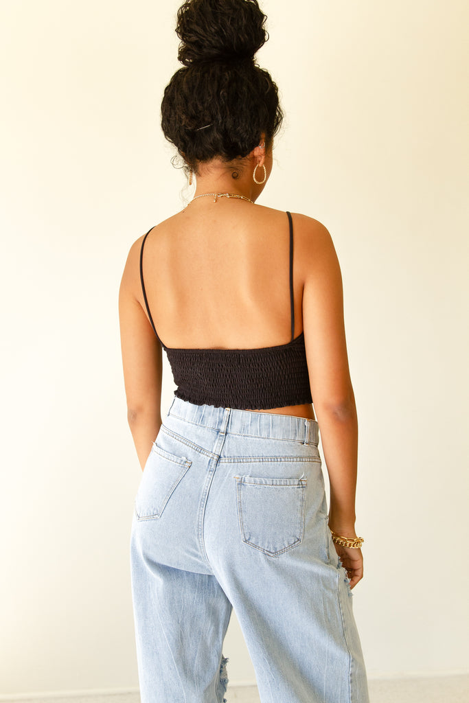 black cami crop top
