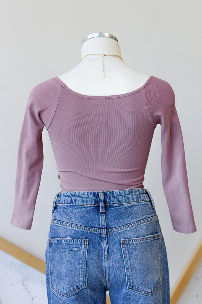 Mauve Mid Sleeve Top