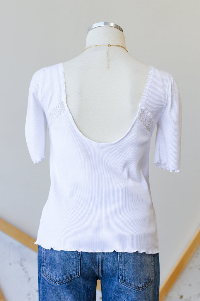 White Mid Sleeve Top