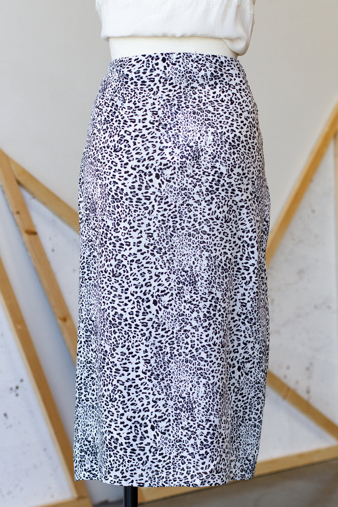 Grey Leopard Print Skirt