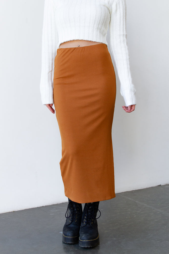 Back Home Ribbed Midi Skirt