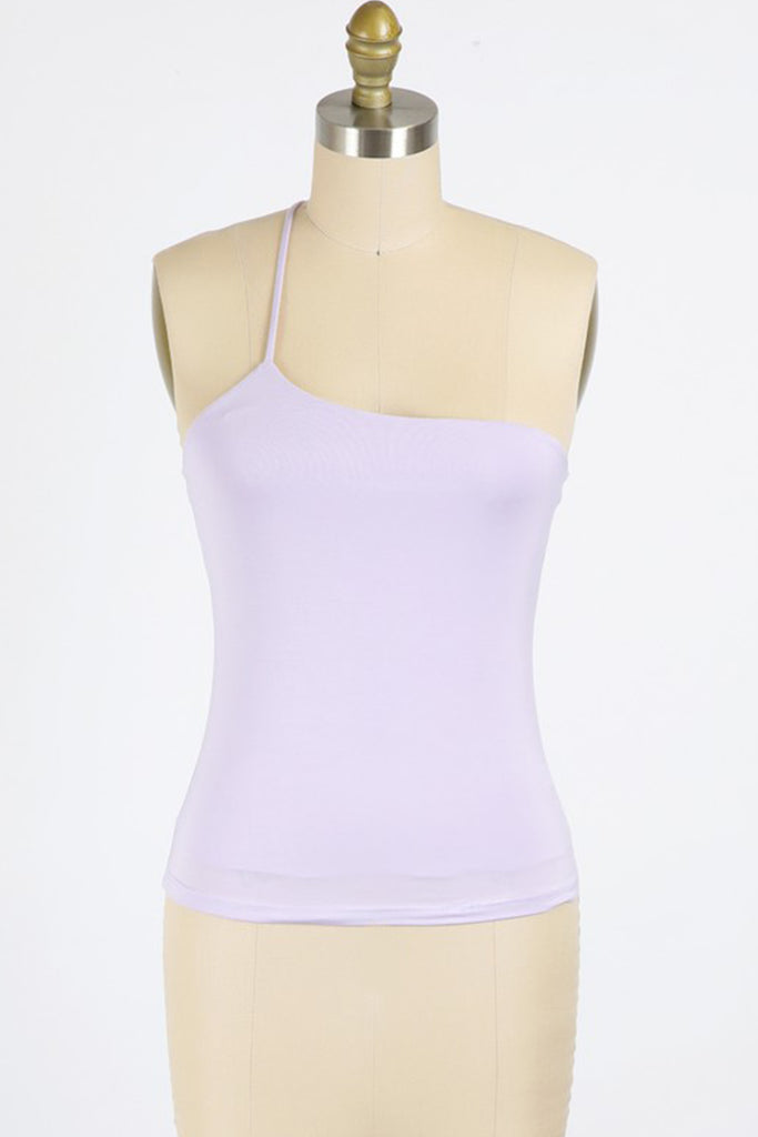 lavender one shoulder top