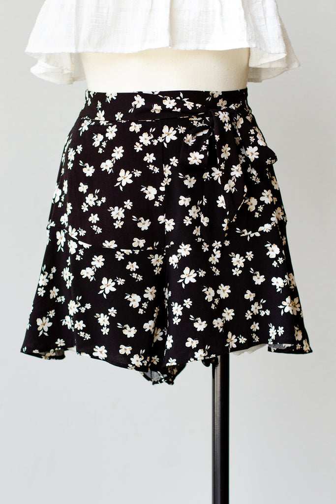 Oceanside Adventure Floral Ruffle Hem Shorts