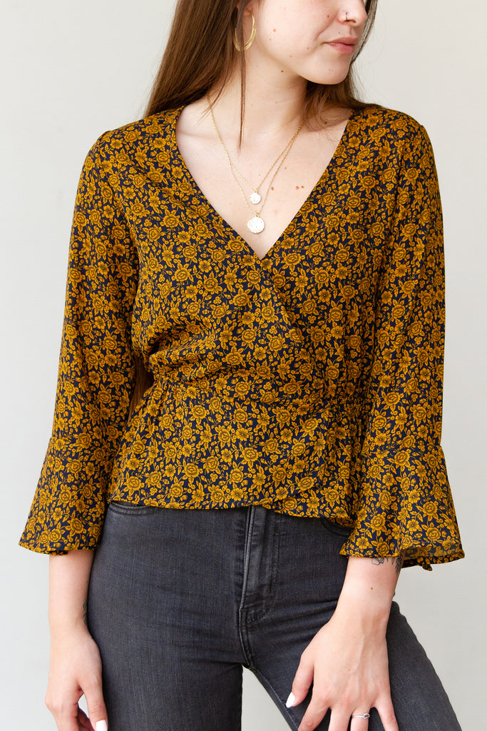 brown and yellow midi top