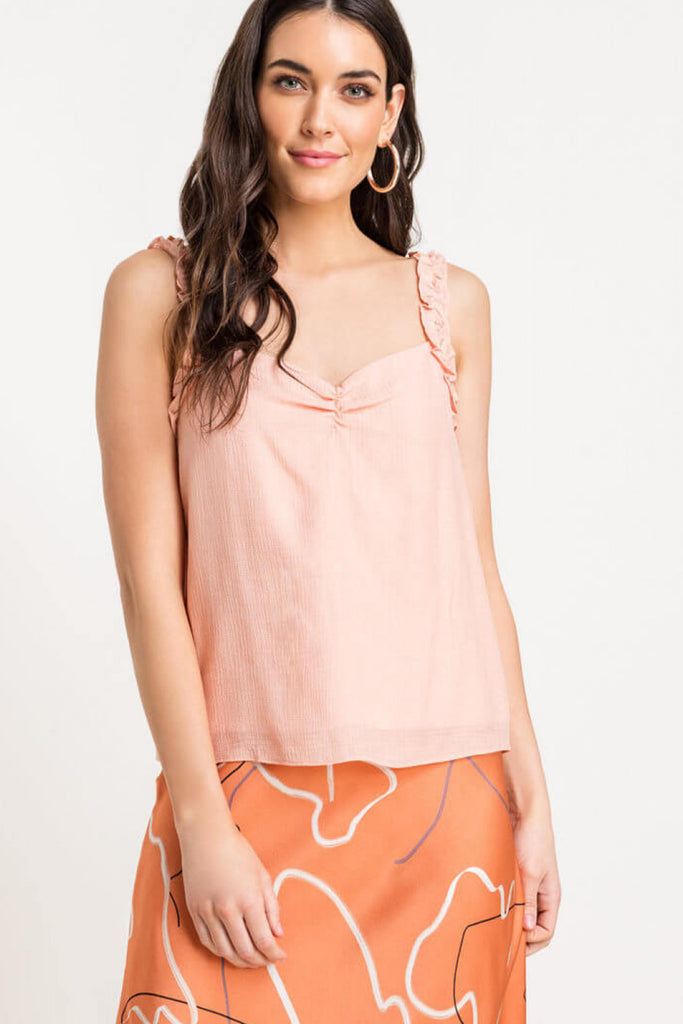 Take Me Away Sweetheart Ruffle Cami Top