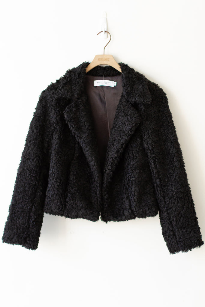 Cross Over Cropped Sherpa Jacket