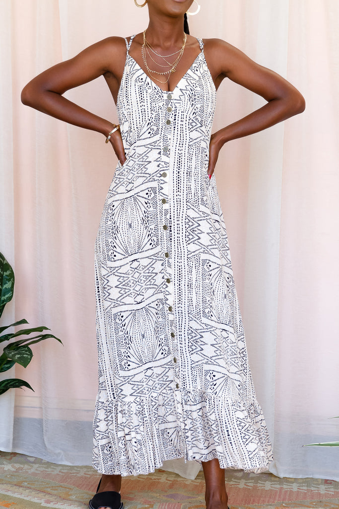 The Irreplaceable Printed Maxi Dress by For Good