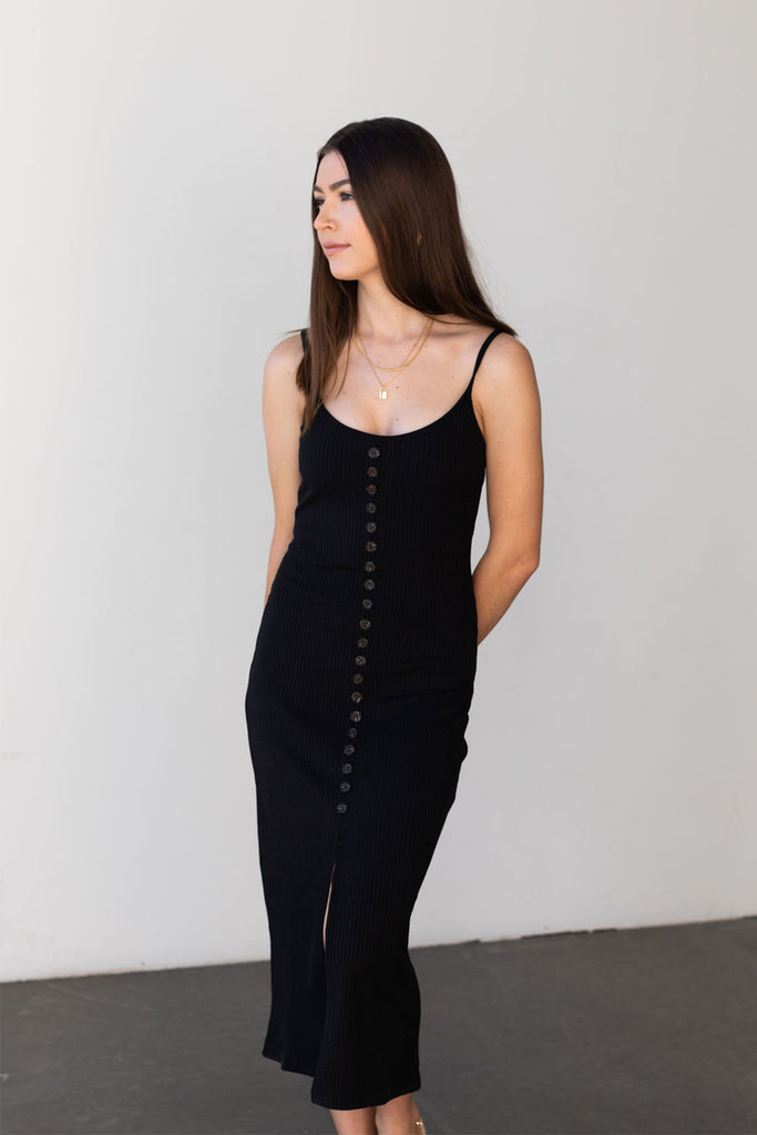 midi ribbed front slit dress