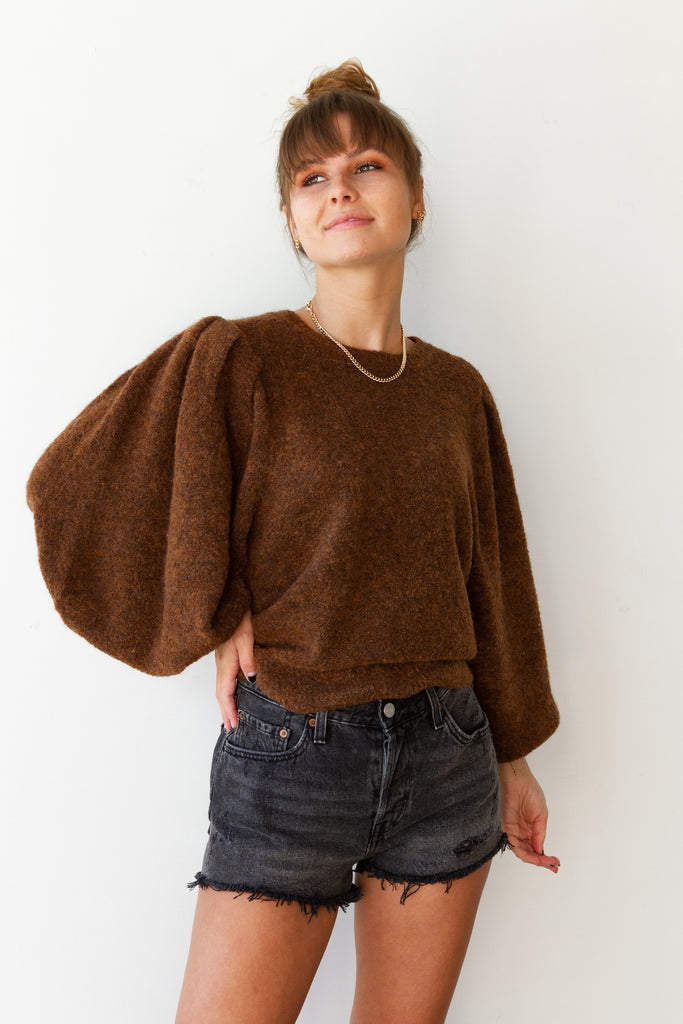 brown balloon sleeve sweater
