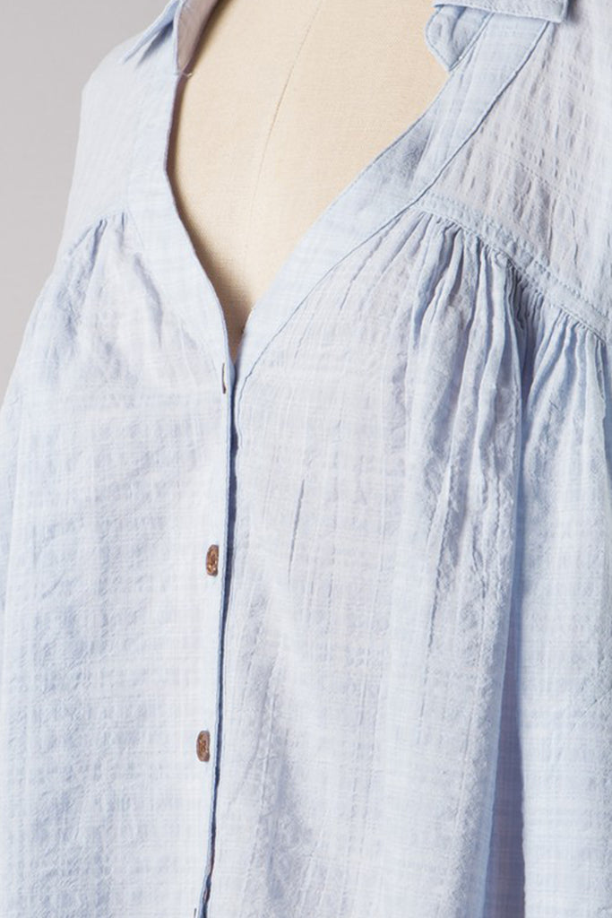Blue Button Top
