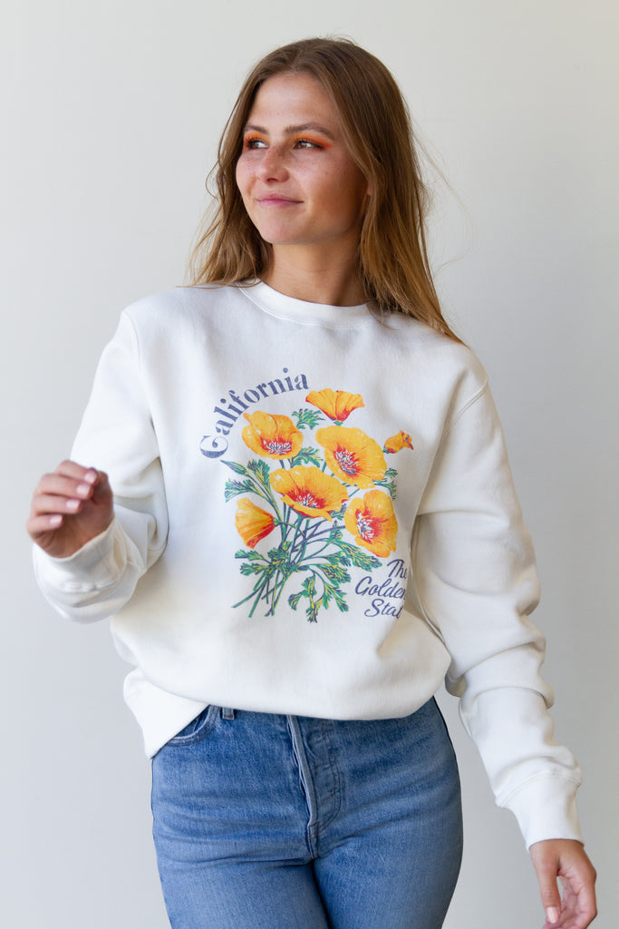 California Poppy Graphic Sweater By For Good