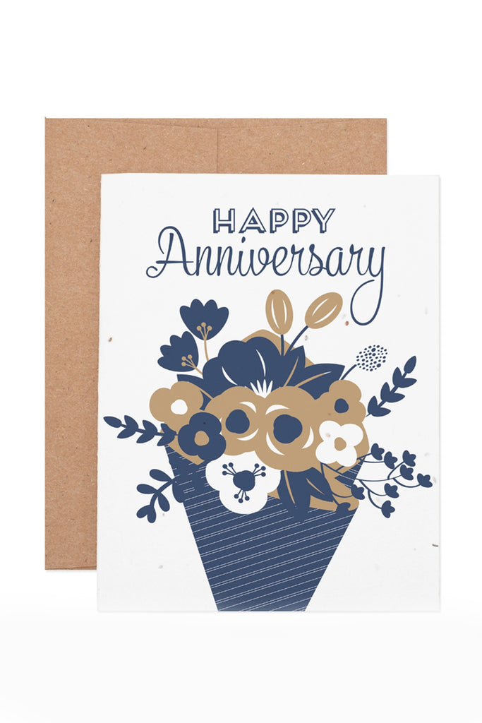 Anniversary Flower Bouqet Plantable Greeting Card by For Good