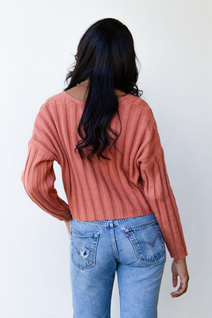 rust ribbed sweater