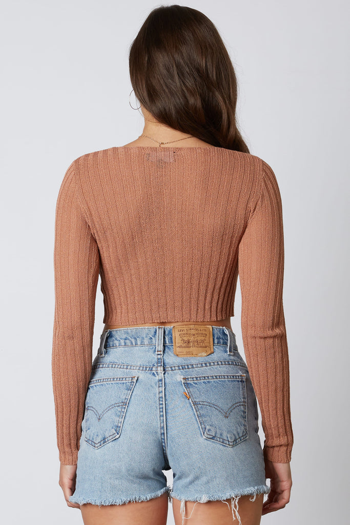 brown cropped cardigan