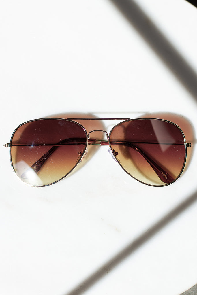 Gold Aviator Sunglasses