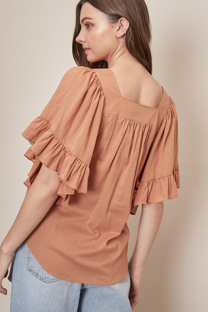 Camel Short Sleeve Top