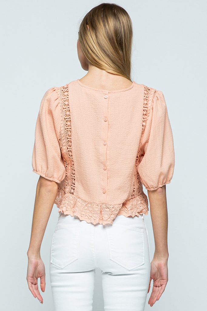 Pink Crop Top W/Lace