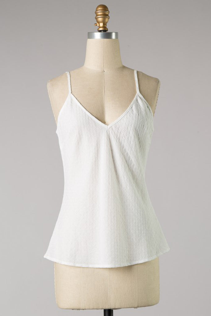 White Textured Cami Top
