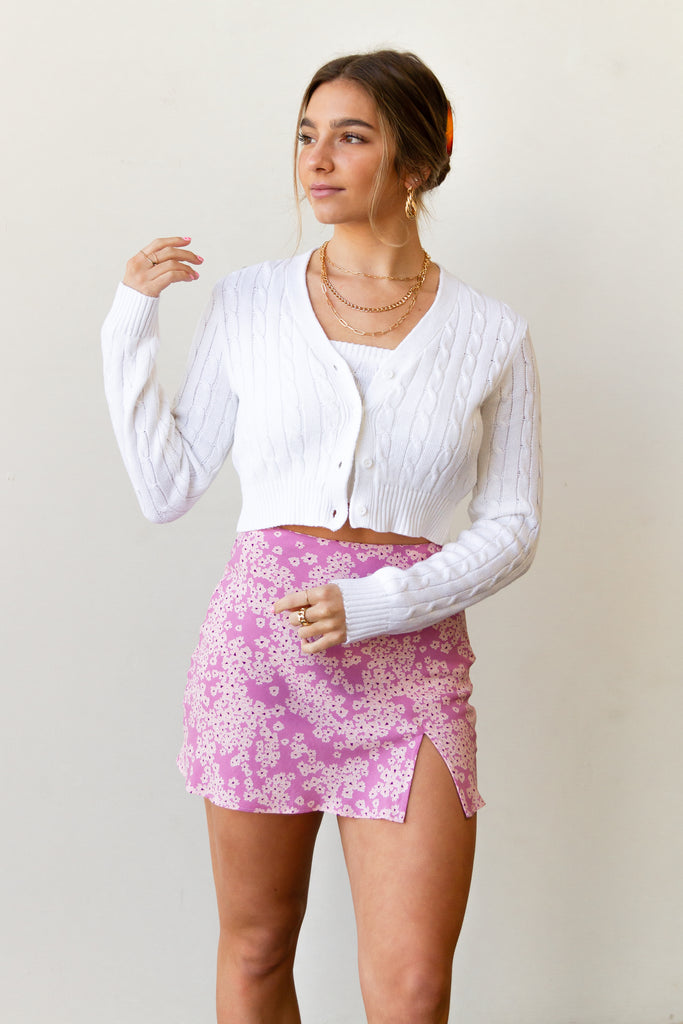 white knit cropped cardigan
