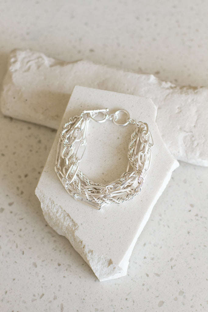 silver layered chain bracelet