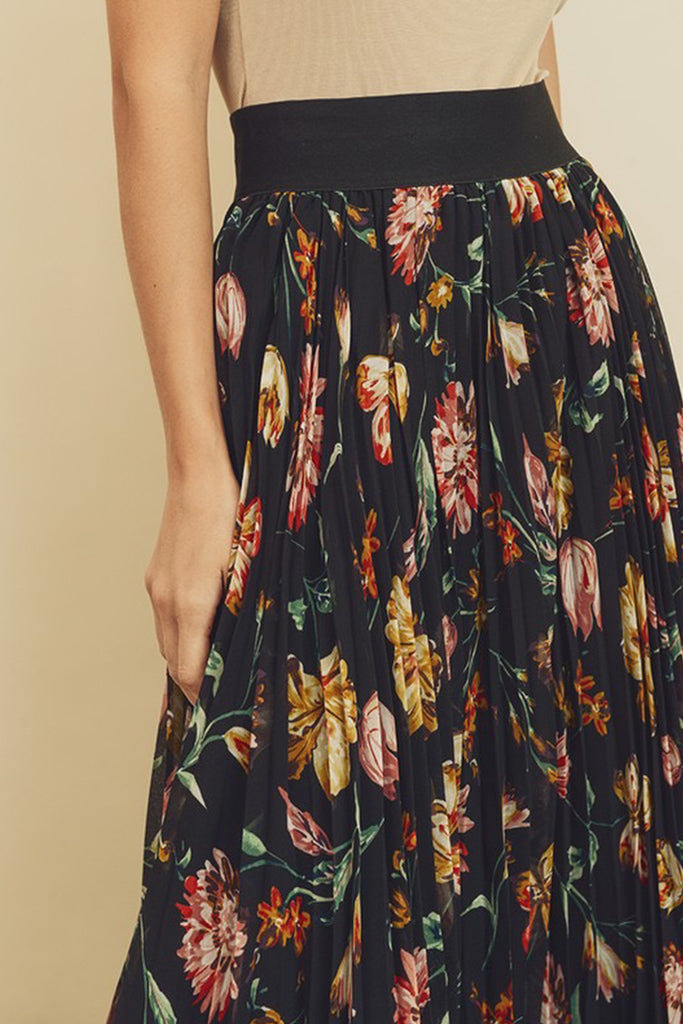 Sweet Spot Floral Midi Skirt by For Good