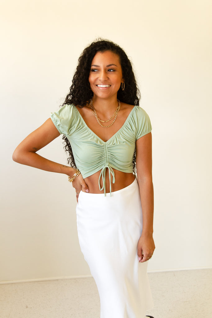 All Night Ruched Crop Top