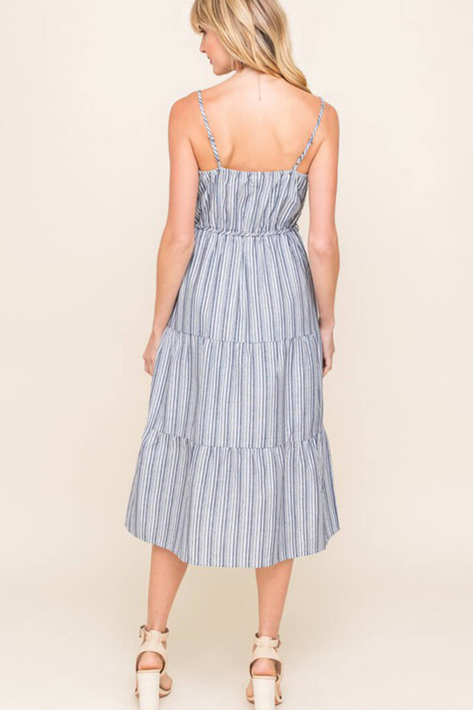 Navy/White Striped Midi Dress