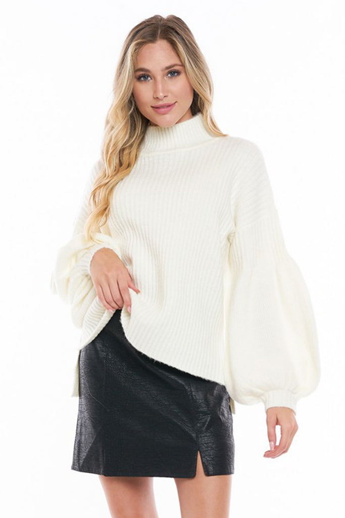 white pullover relaxed sweater