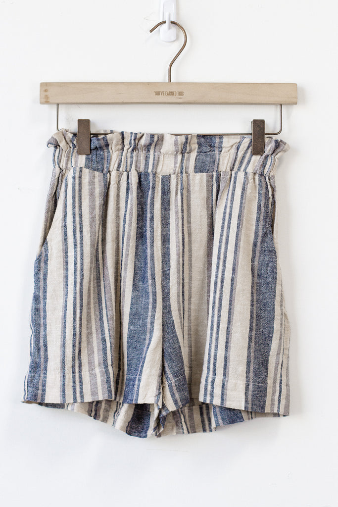 blue/natural striped shorts
