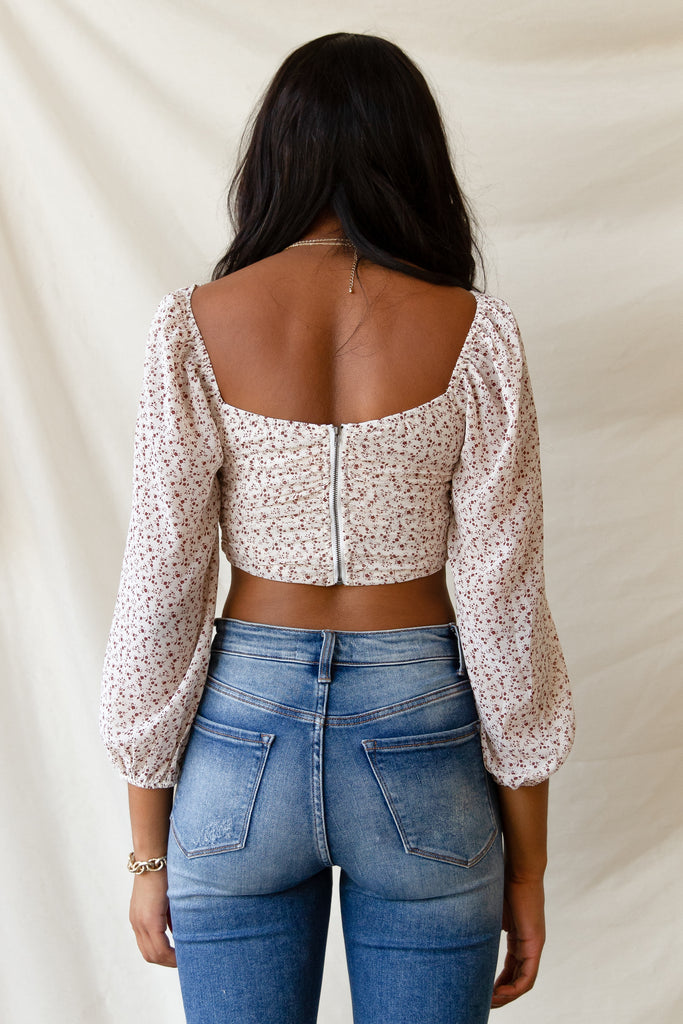 white floral crop top