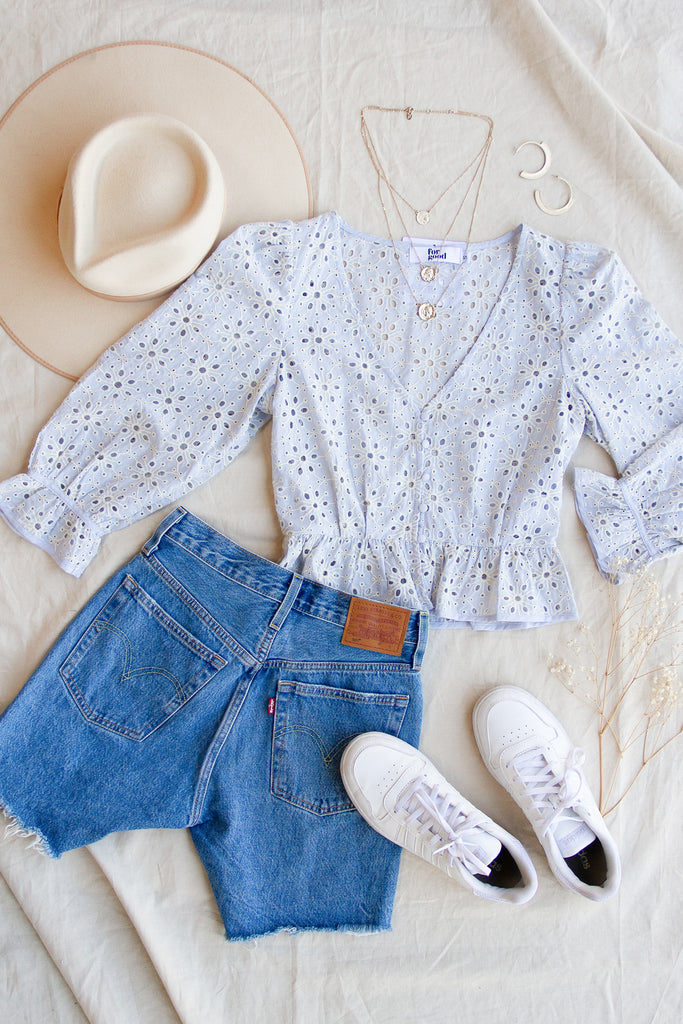 This Town Eyelet Top by For Good