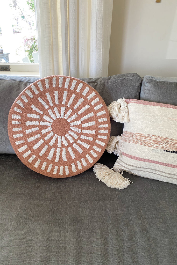 Lazy Days Round Embroidered Pillow