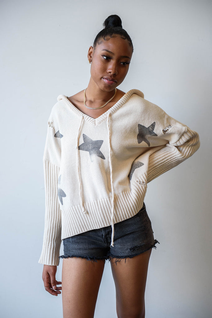 Left Out Star Printed Sweater By For Good