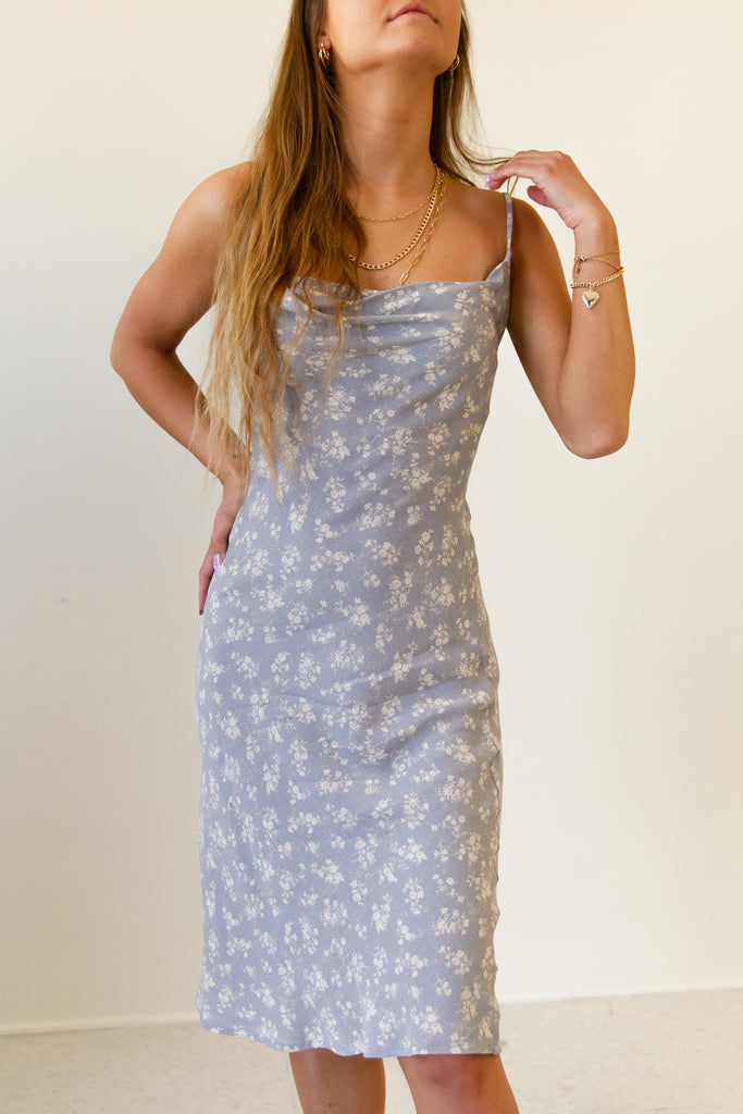 grey/cream floral cowl neck cami dress