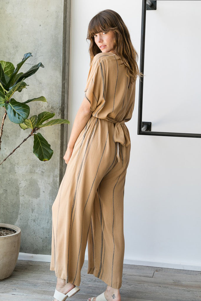 brown striped jumpsuit