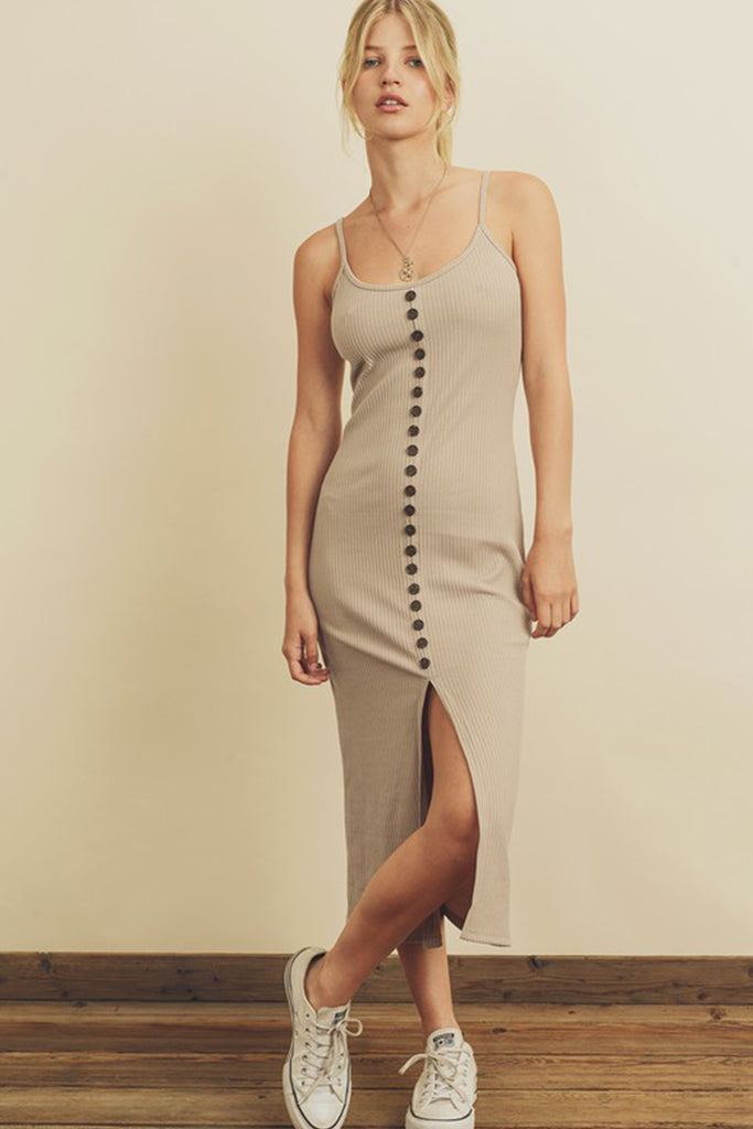 taupe front slit midi dress