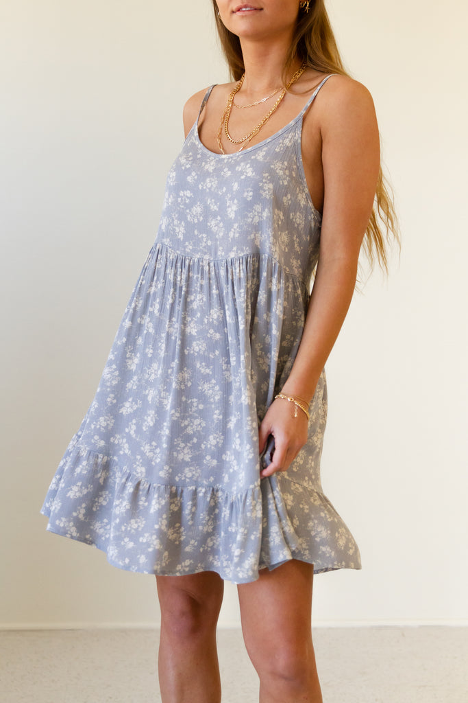 blue floral cami dress